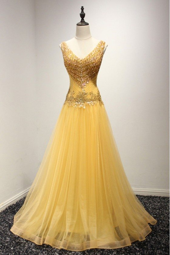 Shining Sequined Gold Prom Dress Formal With Beading Sweetheart Neck