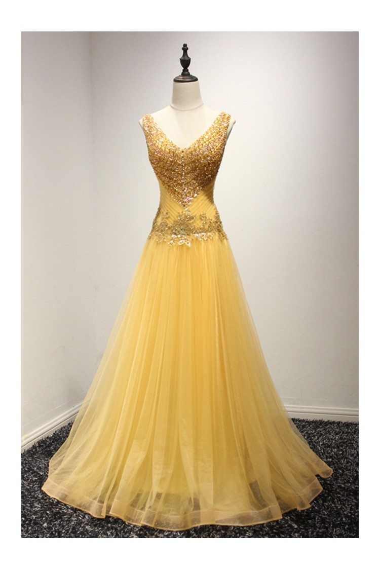 Shining Sequined Gold Prom Dress Formal With Beading Sweetheart Neck ...