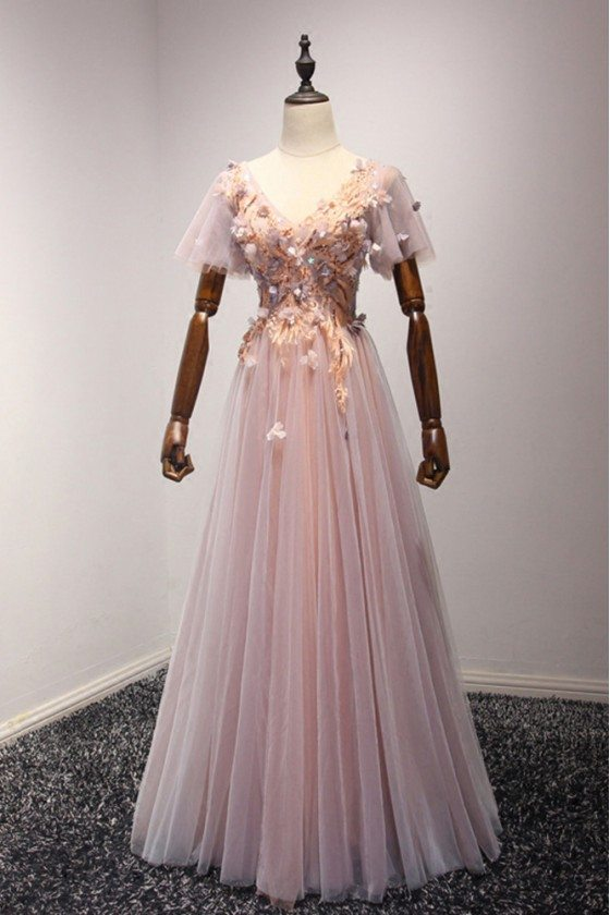 Outstanding Applique Pink Prom Dress Long With Short Puffy Sleeves