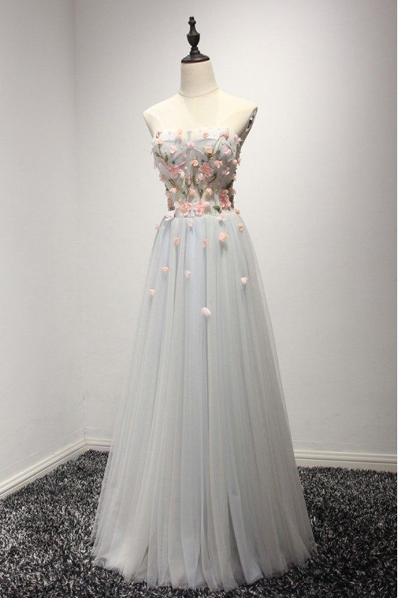 Strapless Long Grey Tulle Prom Dress With Floral Beading