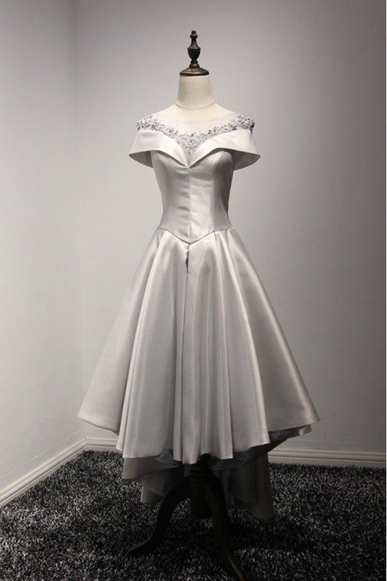 High Low Grey Satin Prom Dress With Off Shoulder Beading