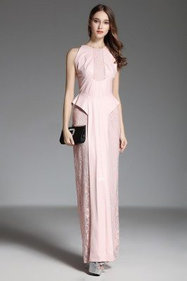 Pink Lace With Leather Long Formal Gown