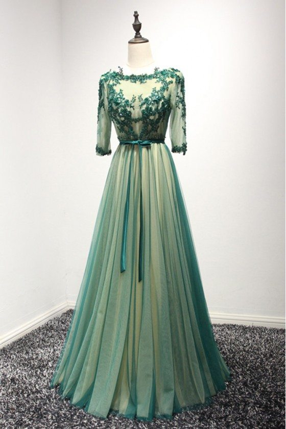 Backless Long Green Lace Prom Dress With Beading 3/4 Sleeves