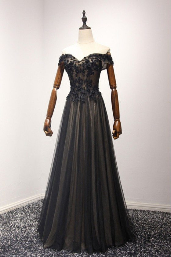 Off Shoulder Black Long Prom Dress With Sweetheart Beaded Lace