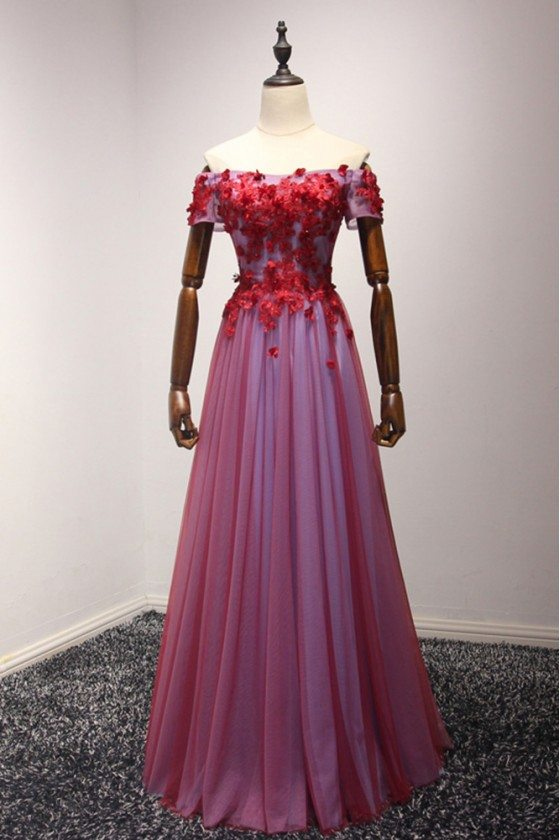 Off Shoulder Sleeves Long Red Formal Dress With Applique Lace