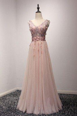 Unique Long Pink V Neck...