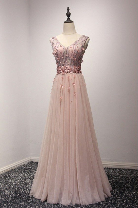 Unique Long Pink V Neck Prom Dress With Floral Corset Bodice