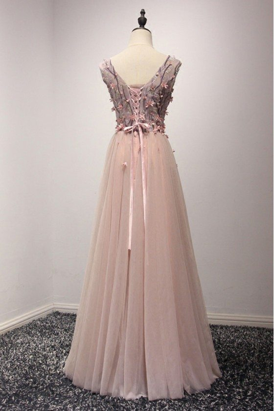 Unique Long Pink V Neck Prom Dress With Floral Corset Bodice - $149 ...