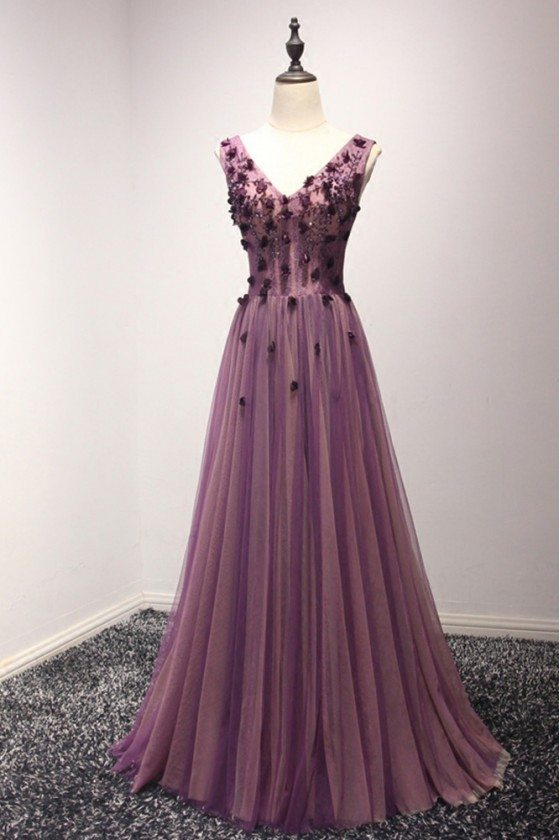Gorgeous Long Purple Fitted Evening Dress With Sweetheart Beading Neck