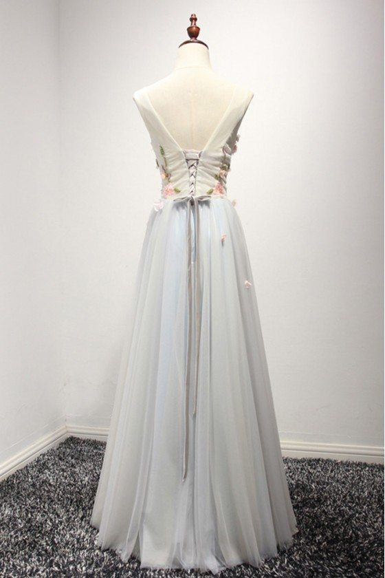 Corset Long Bluish Grey Tulle Formal Dress With Pink Floral Bodice