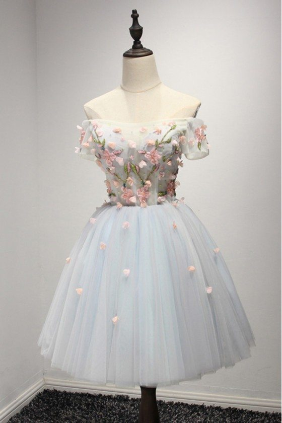 Short Grey And Pink Floral Homecoming Dress With Off Shoulder Sleeves