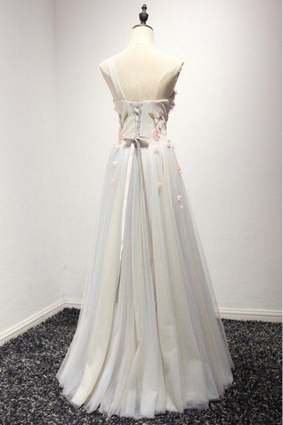 Elegant Long Grey With Pink Floral Prom Dress With One Shoulder Strap -  $199 #AKE18036 - SheProm.com