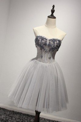Short Grey Strapless Prom...