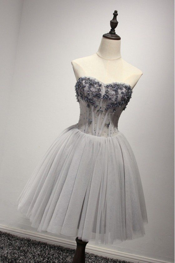 Short Grey Strapless Prom Dress In Tulle With Sparkly Beading Bodice