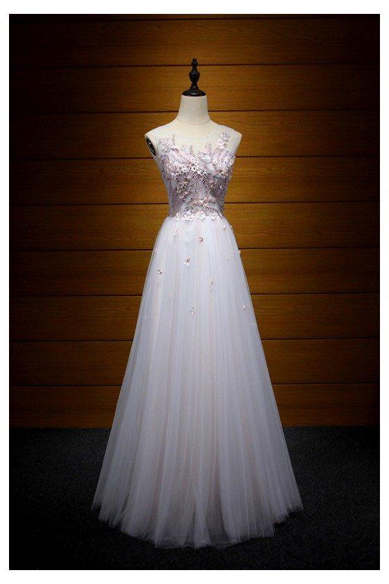 A Line Long Corset Pink Prom Dress With Unique Applique Lace