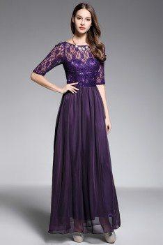V Back Lace Chiffon Short Sleeve Party Dress