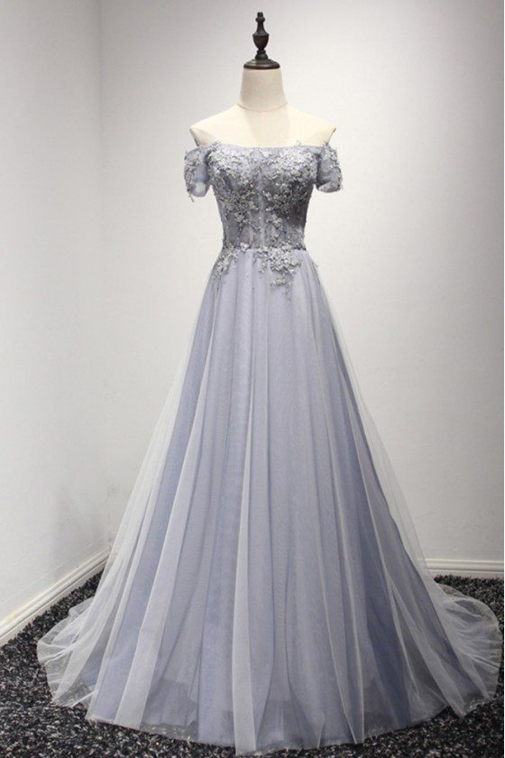 Grey Blue Long Beaded Prom Dress With Off The Shoulder Sleeves