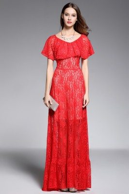 Long Red See-through Ruffle Neckline Formal Gown