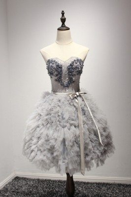 Short Grey Ball Gown Prom...