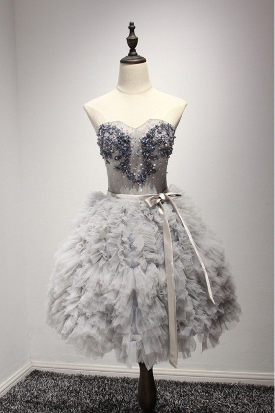 Short Grey Ball Gown Prom Dress With Beading And Cascading Ruffles