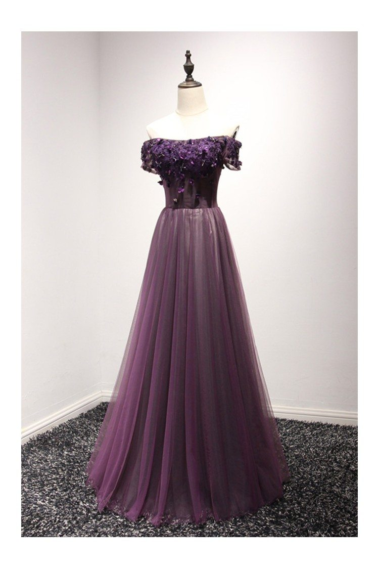 Off The Shoulder Purple Corset Prom Dress Long With Short Sleeves ...