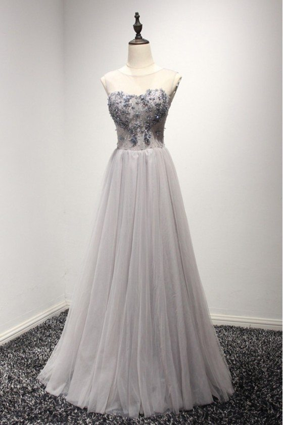 Long Grey Shining Prom Dress Simple With Beading