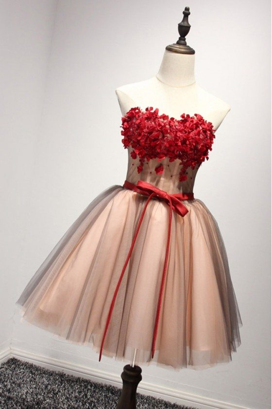 2018 Unique Short Strapless Floral Homecoming Dress For Teen Girls