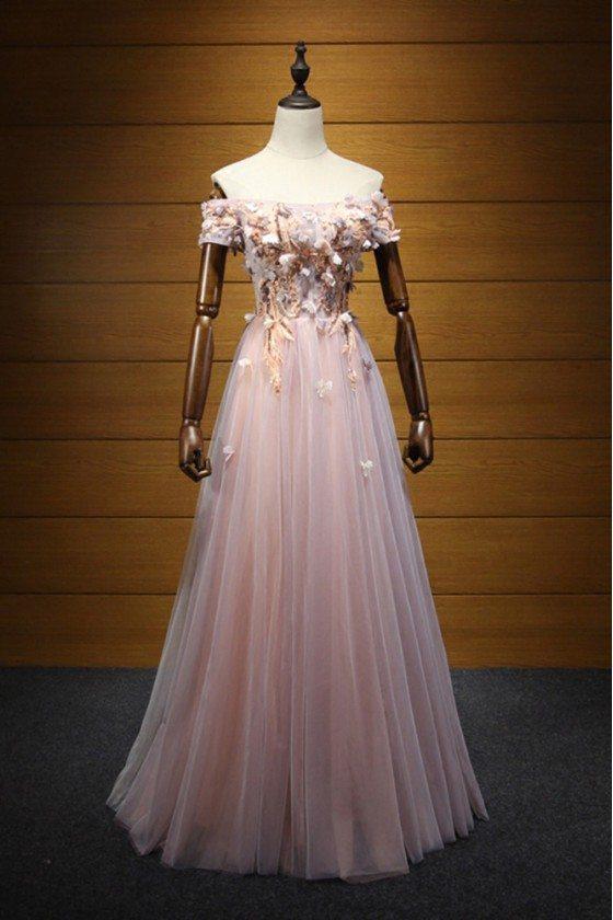 Unique Off The Shoulder Sleeved Formal Dress With Applique Bodice