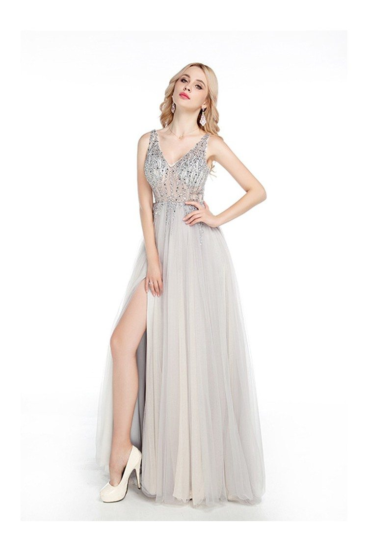 Sparkly Fitted Long Silver Prom Dress Sweetheart With Slit Front ...