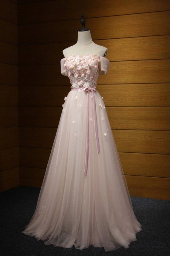 Off The Shoulder Long Pink Prom Dress With Floral Short Sleeves