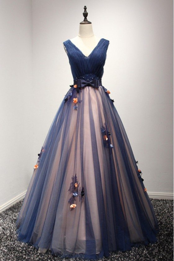 Ball Gown Long Blue Prom Party Dress With Flowers For Girls