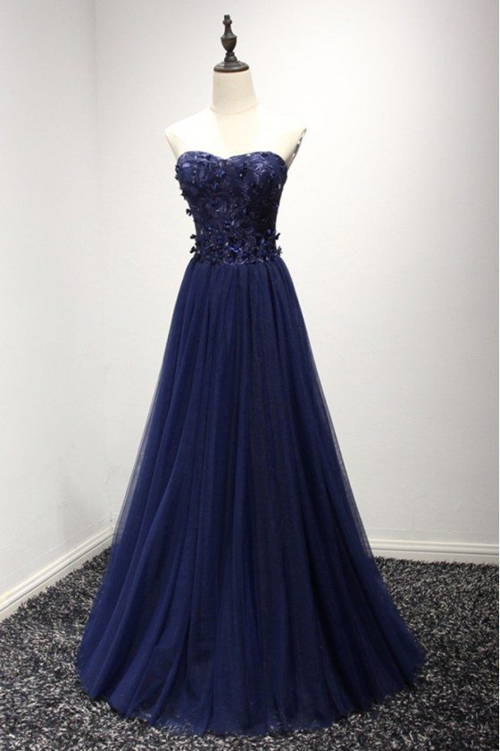 Strapless Long Navy Blue Formal Dress With Lace Corset Back