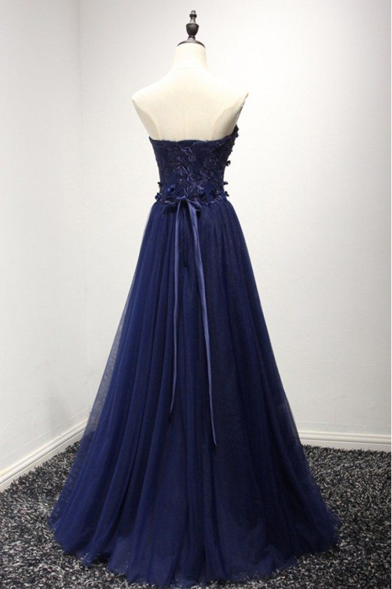 Strapless Long Navy Blue Formal Dress With Lace Corset Back 149