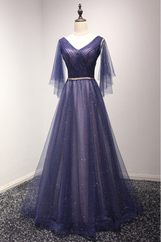 Sparkly Puffy Tulle Long Blue Prom Dress With Sweetheart Sleeves