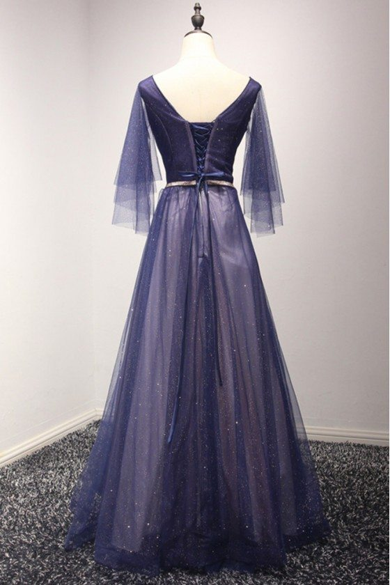 Sparkly Puffy Tulle Long Blue Prom Dress With Sweetheart Sleeves ...