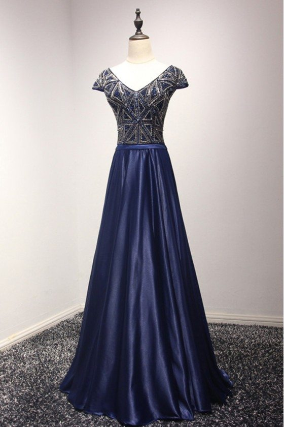 Sparkly Navy Blue Long Formal Dress With Beading Corset Back