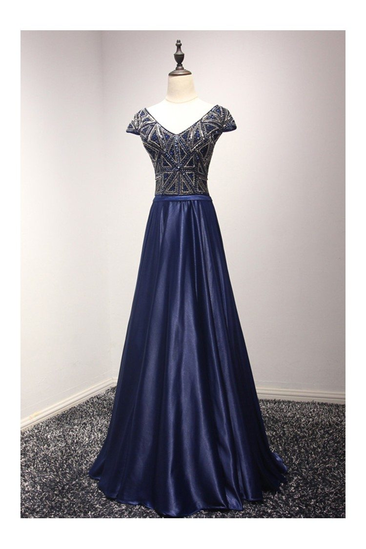 Sparkly Navy Blue Long Formal Dress With Beading Corset