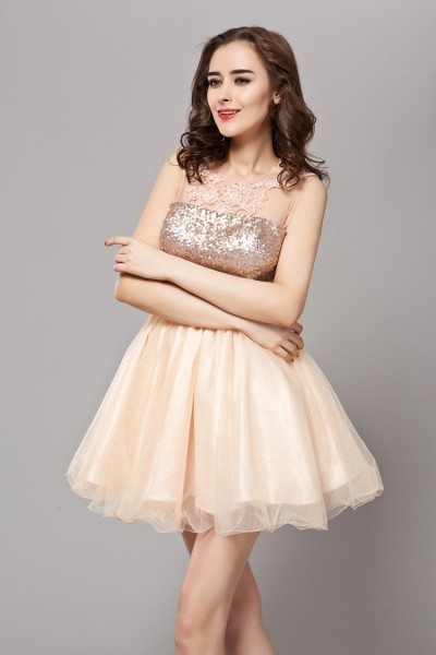 Sequin Lace And Tulle Short Prom Dress