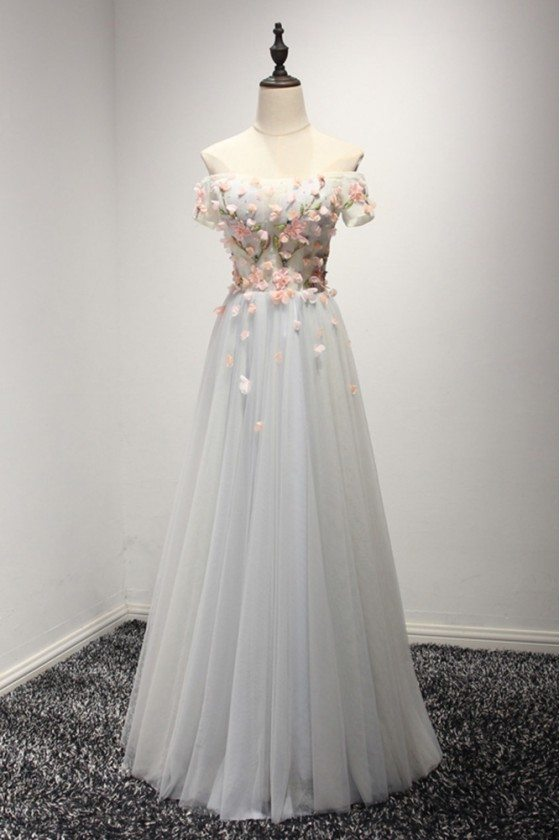 Special Off The Shoulder Prom Dress With Sleeves Pink Flowers