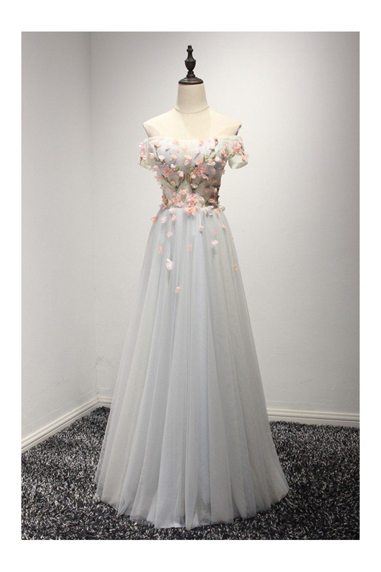 Special Off The Shoulder Prom Dress With Sleeves Pink Flowers 149