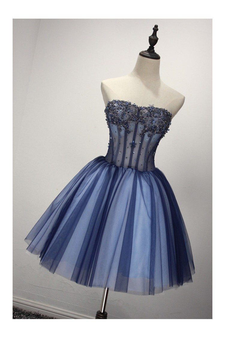 Short Sparkly Blue Formal Dress For 8th Grade Girls 149