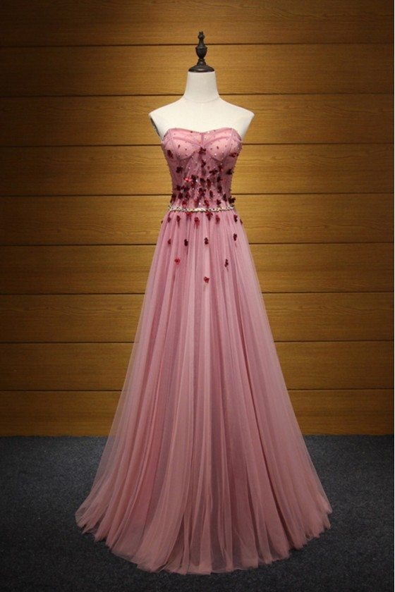 Princess Long Pink Prom Dress Strapless With Beading Flowers
