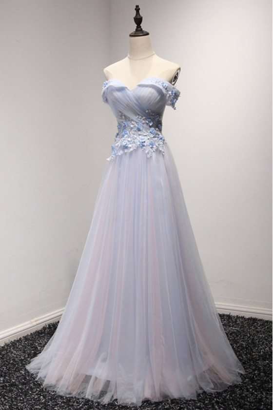 Off The Shoulder Tulle Prom Dress Long In Two Tune Colors
