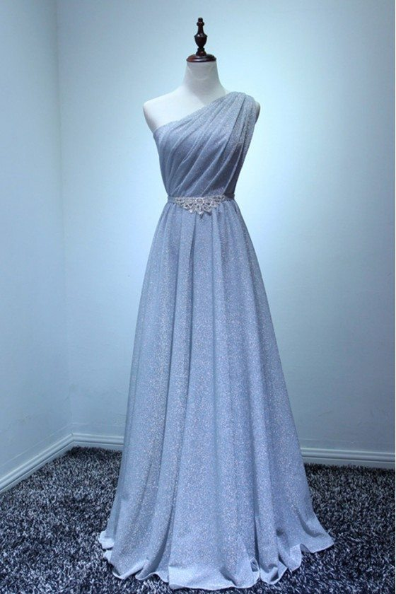 Sparkly Long Silver Formal Prom Dress In One Shoulder