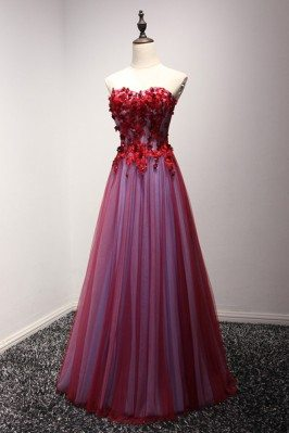 Long Red Strapless Prom...
