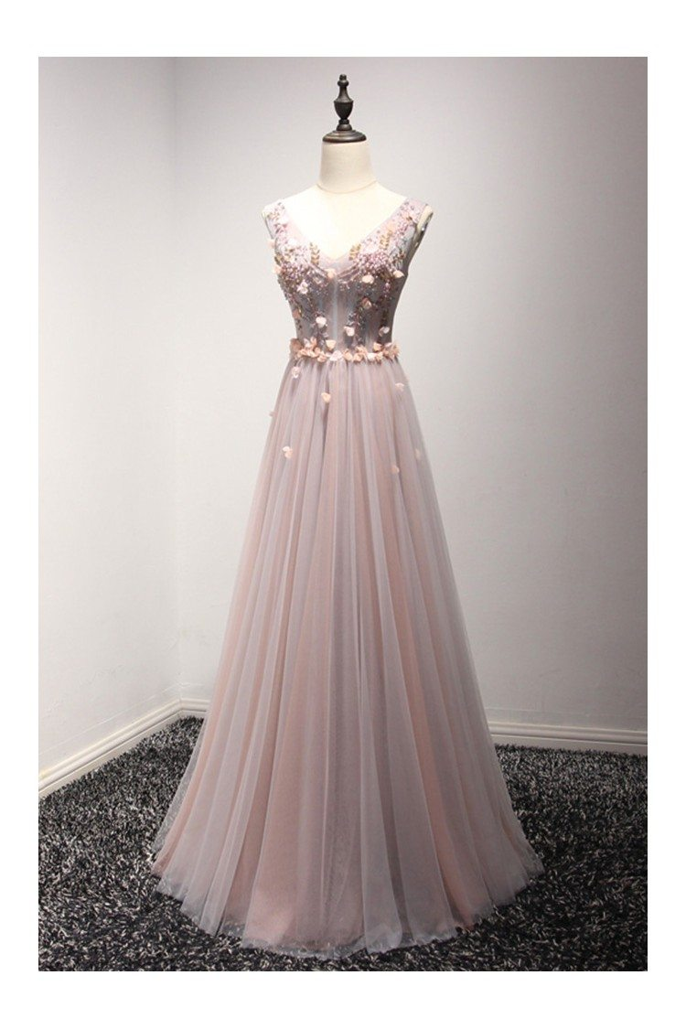 long floral pink and grey prom dress with beading sweetheart neck -  149  ake18001