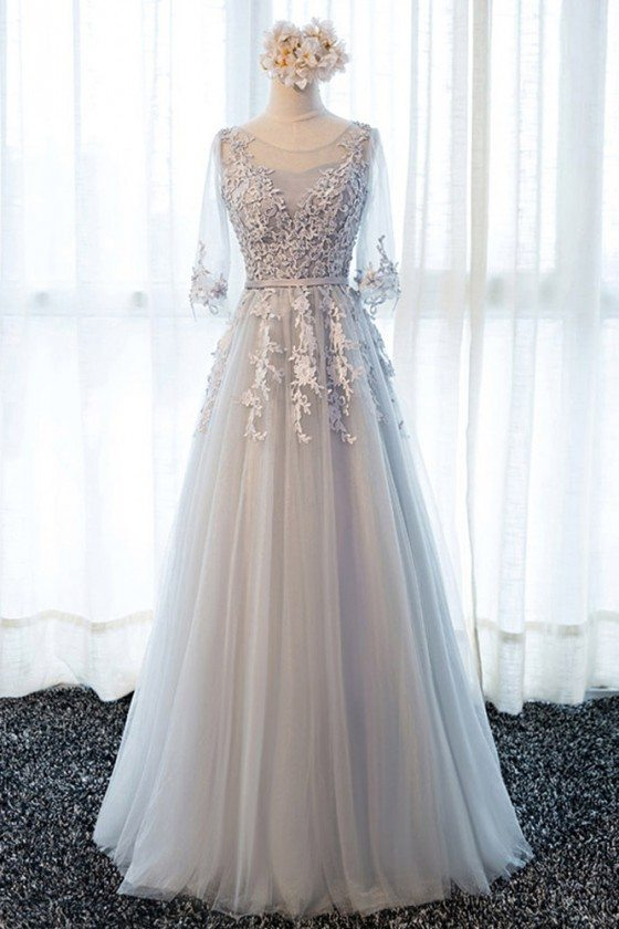 Beautiful Lace Long Tulle Prom Dress With Half Sleeves