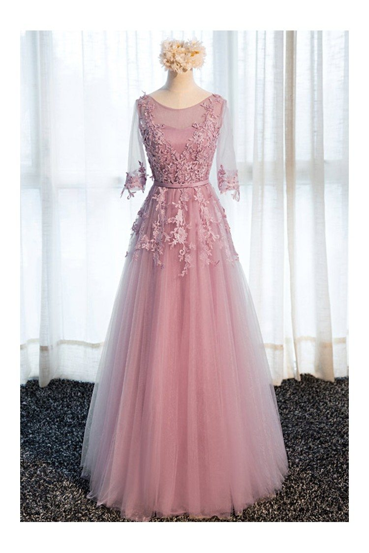 Beautiful Lace Long Tulle Prom Dress With Half Sleeves - $118 ...