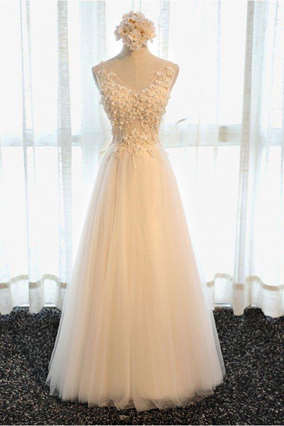Boho V-neck Long Tulle Formal Prom Dress Sleeveless