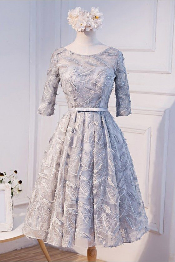 Unique Silver Grey Short Homecoming Party Dress With Half Sleeves